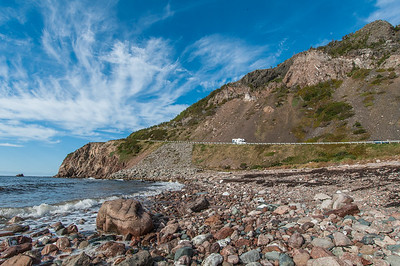Views along rocky beach at the entrance to Le Buttereau hiking trail on the west side of Cape Breton Island in Cape Breton Highlands National Park. The trail was one of those used during the annual 'Hike The Highlands' Festival.