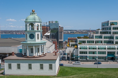 Views from Citadel hill looking down Carmichael Street past the Old Town Clock toward Halifax Harbour
