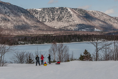 Cross country skiing at the North Highlands Nordic Centre on the Cabot Trail in village of Cape North on northern Cape Breton Island