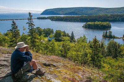 Hikers on the Freshwater Lake trail and lookoff in Cape Breton Highlands National Park during the annual 'Hike The Highlands' Festival.
