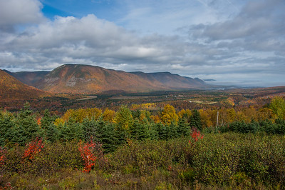 Autumn scenery looking north toward Aspey Bay from a lookoff near the community of Cape North in northern Cape Breton