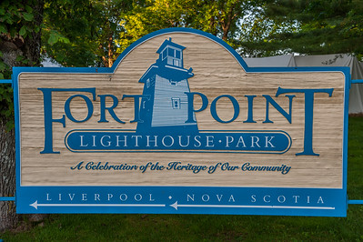 The entrance sign to Fort Point, a waterside park in the town of Liverpool