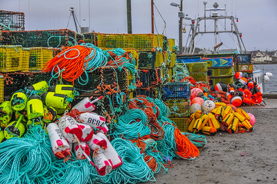 "Lobster boats and gear congest the wharves at Clarkes Harbour on Cape Sable Island as they load up for ""dumping day"" and  the start of the lobster fishing season in southwestern Nova Scotia"