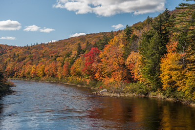 Autumn foliage along the St. Mary's River near Sherbrooke on the eastern shore of Nova Scotia.