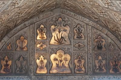 Intérieur du Khas Mahal ou palais privé de Shah Jahan, palais tout en marbre blanc au Fort Rouge d'Agra. Ici, le marbre devient translucide pour pouvoir profiter des rayons du soleil.