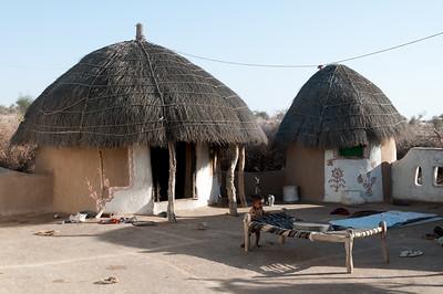 Cour ceinte d'une maison bishnoï dans le désert du Thar, appelé aussi le Grand Désert indien ou le Pays de la mort. C'est un désert qui s'étend de l'État du Rajasthan au nord-ouest de l'Inde au Pakistan où il porte le nom de désert du Cholistan. C'est le 7e désert dans l'ordre de la superficie (200 000 km²). Il est encadré par l'Indus à l'ouest et la chaîne des Ârâvalli à l'est. Plus qu'un véritable désert, il s'agit en fait d'une étendue steppique où on rencontre une végétation très clairsemée dont seules les dunes suffisamment étendues sont dépourvues. Il reçoit moins de 200 mm d'eau par an.