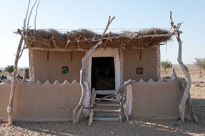 Habitation bishnoï dans le désert du Thar.