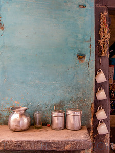 Chai Time - The skinny streets of Varanasi are full of surprises, I loved the blue washed colour of the walls and the cups hanging from the door frame.