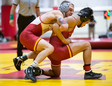 Scene  from Iowa State Cardinal-Gold wrestling meet at Lied Rec Center in Ames, Iowa on October 30, 2019. Photo © Wesley Winterink.