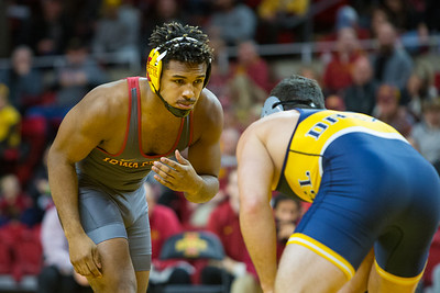 Scene from NCAA wrestling meet between Drexel and Iowa State at Hilton Coliseum in Ames, Iowa on November 10, 2017. Photo by Wesley Winterink.