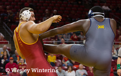 Scene from NCAA wrestling meet between Northern Colorado and Iowa State at Hilton Coliseum in Ames, Iowa on January 5, 2018. Photo by Wesley Winterink.