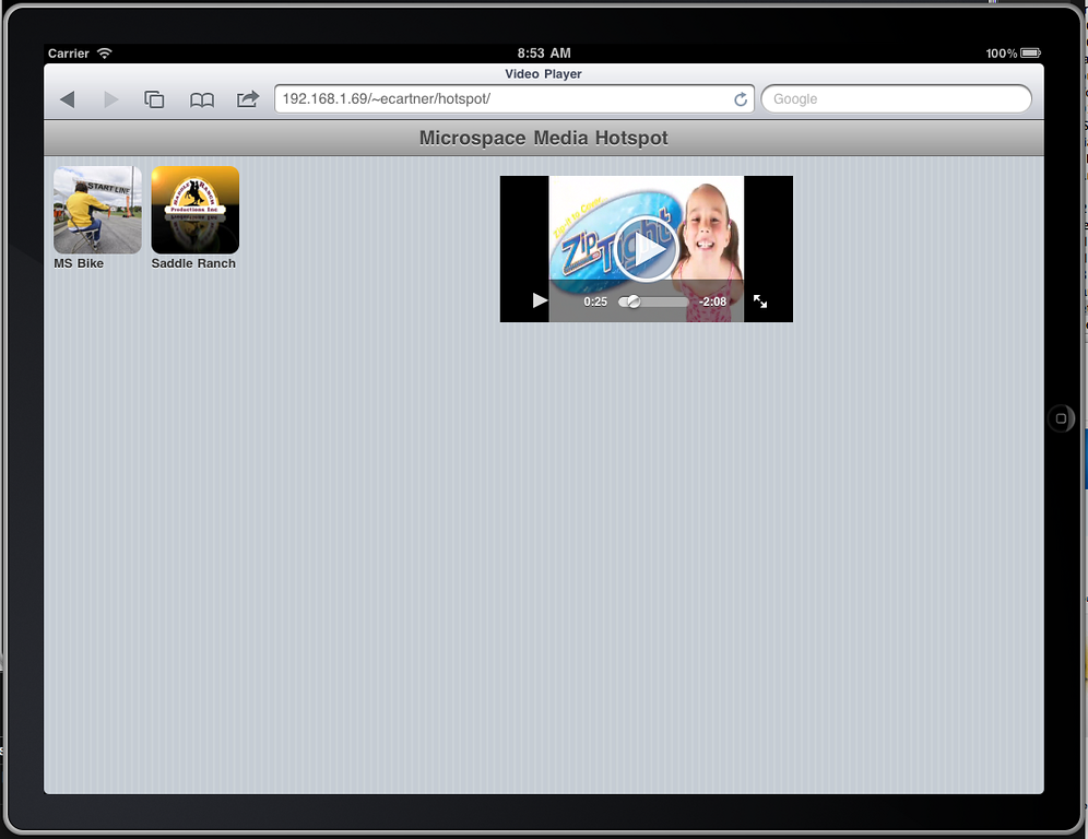 """iPad landscape """"home"""" page playback showing video controls. Again, I want to find a way to get the video bigger on this page."""