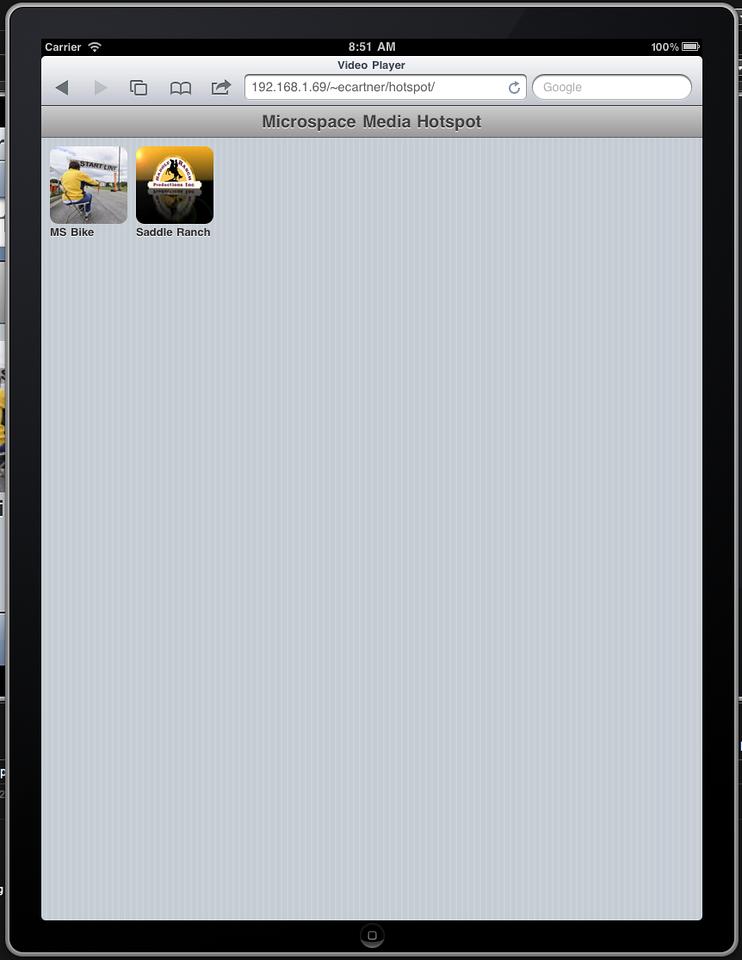 """iPad """"home"""" page"""