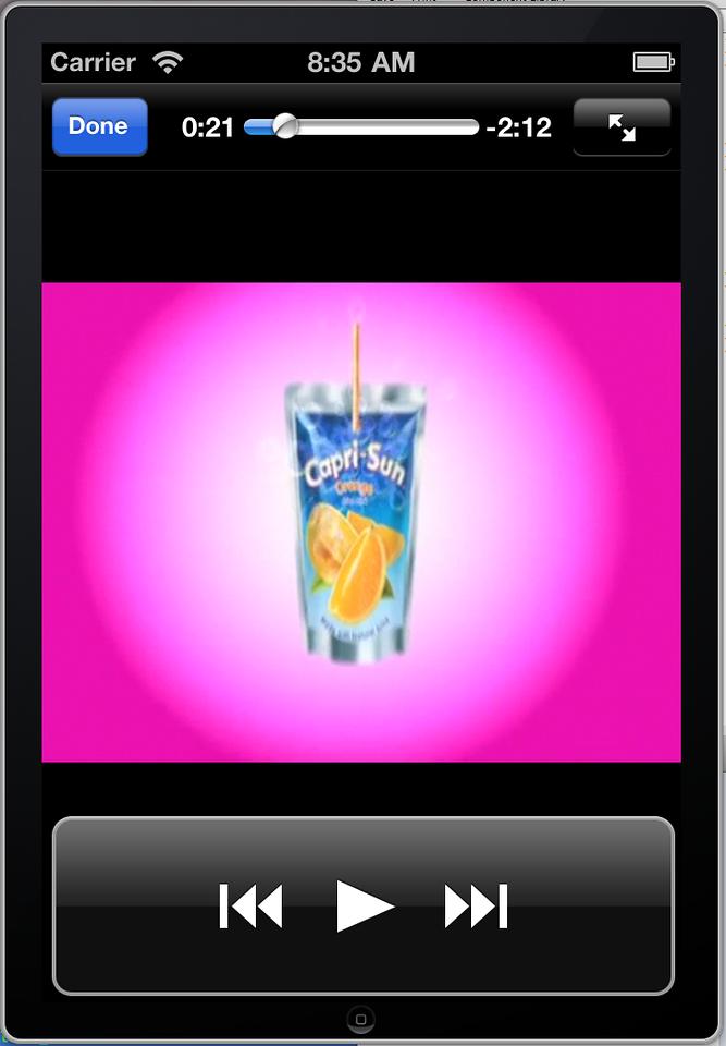 Portrait mode paused playback on iPhone 4 simulator.
