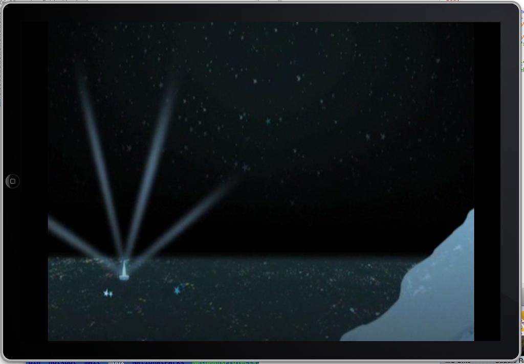 Landscape mode playback on iPhone 4 simulator.