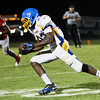 Garner's #22 Raevon Smith runs after catching a pass as Garner runs over Middle Creek 46 to 29 Friday night September 7, 2012. (photo by Jack Tarr)