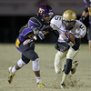 Reidsville's #5 David Barham runs the ball as Carrboro holds off Reidsville 20 to 16 in round 3 of the 2012 NCHSAA football playoffs Friday night November 16, 2012. (Photo by Jack Tarr)