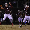 Wakefield's #3 Conner Mitch passes the ball. Wakefield survives Wake Forest-Rolesville 40 to 38 in the first round of the 2012 NCHSAA football championship Friday night November 2, 2012. (Photo by Jack Tarr)