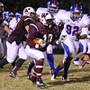 Wakefield's #10 Shawnya Banks runs the ball. Wakefield survives Wake Forest-Rolesville 40 to 38 in the first round of the 2012 NCHSAA football championship Friday night November 2, 2012. (Photo by Jack Tarr)