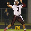 Wakefield's Connor Mitch (3) passes the ball. Wakefield tames Heritage 42 to 21 Friday night October 26, 2012. (Photo by Jack Tarr)