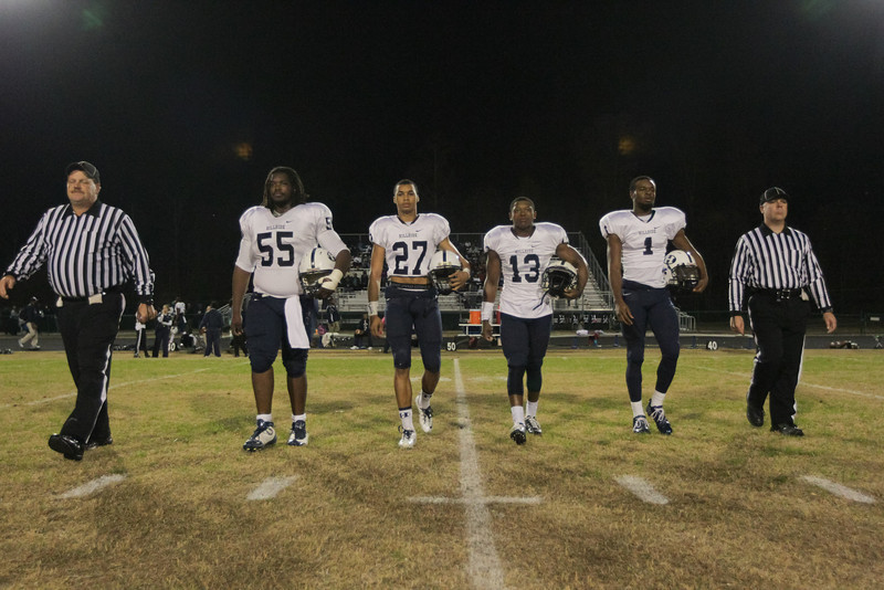 Captains take the field. Knightdale defeats Durham Hillside 16 to 15 Friday night November 22, 2013 in round two of the NCHSAA Football playoffs. (Photo by Jack Tarr)