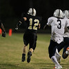 Knightdale's #12 Jake DeShields runs down field after making an interception. Knightdale defeats Durham Hillside Friday night November 22, 2013 in round two of the NCHSAA Football playoffs. (Photo by Jack Tarr)