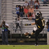 Apex's #17 Brandon Cox punts the ball as Apex defeats Fuquay Varina 45 to 35 Friday night October 3, 2014. (Photo by Jack Tarr/WRAL Contributor)