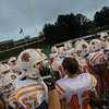 Fuquay huddles before the game. Apex defeats Fuquay Varina 45 to 35 Friday night October 3, 2014. (Photo by Jack Tarr/WRAL Contributor)