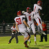 New Bern's #1 Mike Hughes celebrates after scoring a touchdown as New Bern defeats Durham Hillside 12 to 0  at Durham Hillside High School Friday August 22, 2014. (Photo by Jack Tarr/WRAL contributor.)