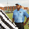 Panther Creek head coach Sean Crocker. Wake Forest rolls over Panther Creek 23 to 6 Friday August 22, 2014. (Photo by Jack Tarr/WRAL contributor.)