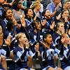 FAN CAM: Hoggard cheerleaders during round three of the 2013 NCHSAA Basketball Championship Friday March 1, 2013 (Photo by Jack Tarr)