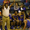 East Wake coach Darrin Stinson calls a defense as Garner Rolls over East Wake Apex 84 to 53 Friday night January 24, 2013.(Photo by WRAL Contributor Jack Tarr)
