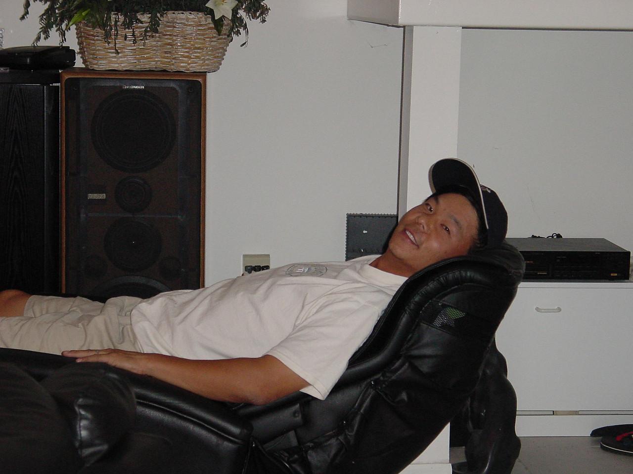 Joe hogging the massage chair