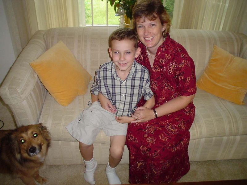 Wendy McWilliams (Ticknor) with her son, John & unnamed dog