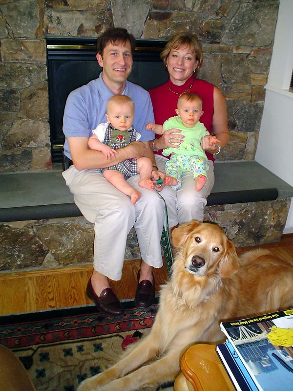 Chris Bright, wife Nancy, with babies Henry and Sarah, and dog, Sam
