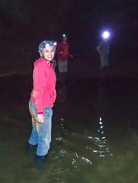 Marlene Wading Through Underground River