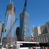 Construction cranes for the subway and Path site at WTC.