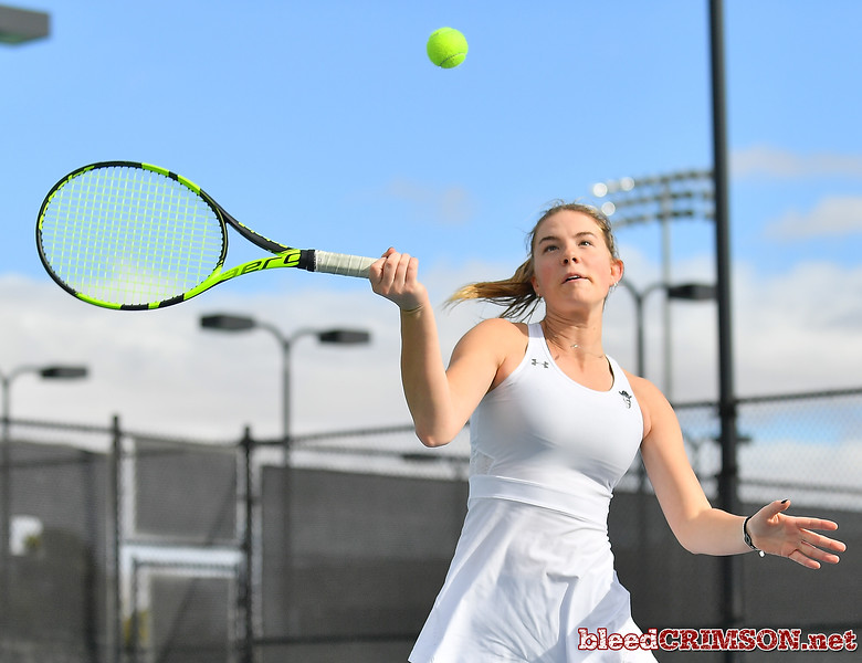 LAS VEGAS, NV - JANUARY 20:  Quinty Janssen of the New Mexico State Aggies plays a forehand during her team's doubles match against McKenna Lloyd and Sara Parker of the Weber State Wildcats at the Frank and Vicki Fertitta Tennis Complex in Las Vegas, Nevada. New Mexico State won the doubles match 6-3.  Photo by Sam Wasson/bleedCrimson.net