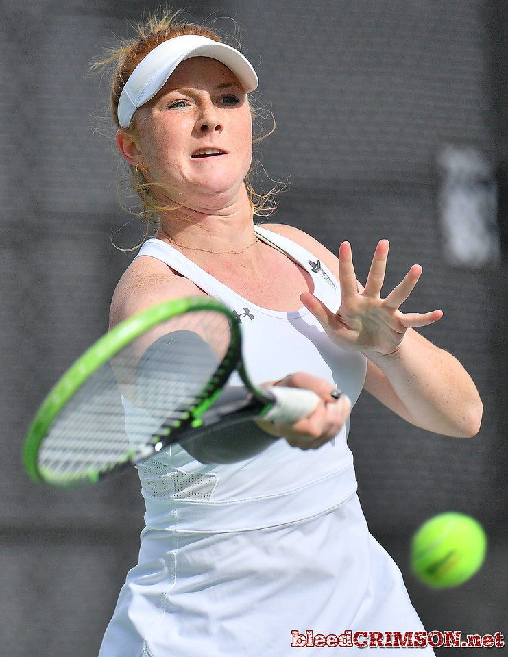 LAS VEGAS, NV - JANUARY 20:  Rebecca Keijzerwaard of the New Mexico State Aggies plays a forehand during her match against Pei-Hsuan (Patty) Kuo of the Weber State Wildcats at the Frank and Vicki Fertitta Tennis Complex in Las Vegas, Nevada. Kuo won the match 6-3, 7-6 (10-5),  Photo by Sam Wasson/bleedCrimson.net