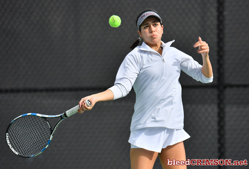 LAS VEGAS, NV - JANUARY 20:  Yadira Rubio of the New Mexico State Aggies plays a forehand during her match against Dominique Beauvais of the Weber State Wildcats at the Frank and Vicki Fertitta Tennis Complex in Las Vegas, Nevada. Rubio won the match 6-2, 6-3.  Photo by Sam Wasson/bleedCrimson.net