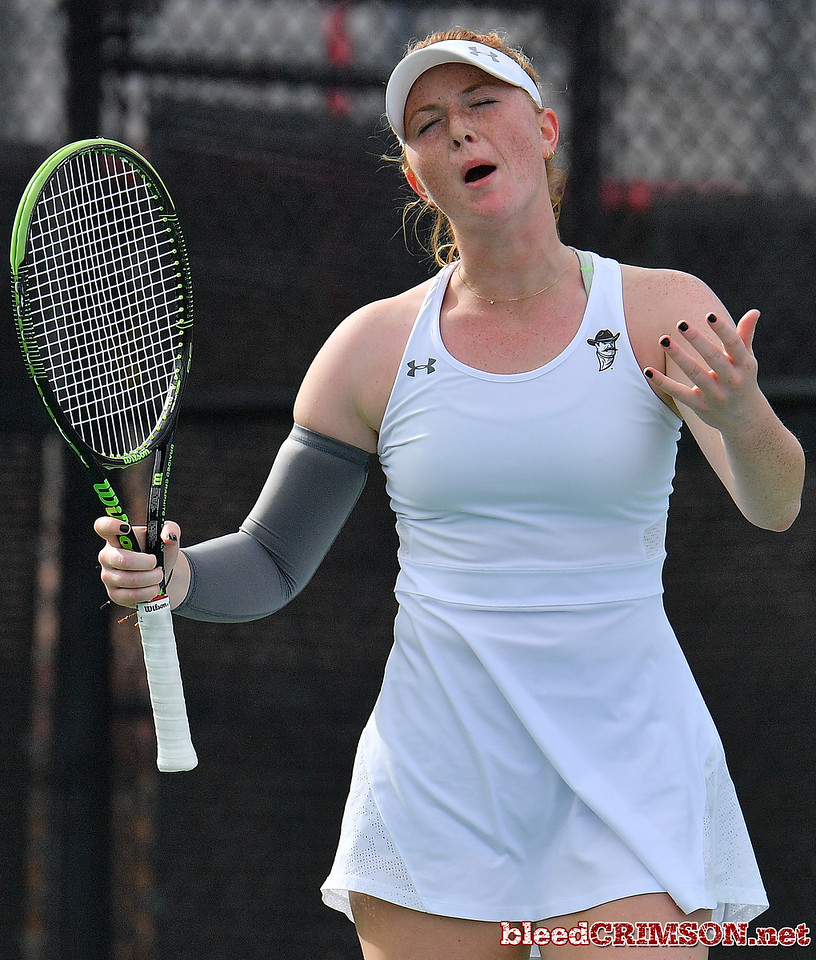 LAS VEGAS, NV - JANUARY 20:  Rebecca Keijzerwaard of the New Mexico State Aggies reacts after losing a point during her match against Pei-Hsuan (Patty) Kuo of the Weber State Wildcats at the Frank and Vicki Fertitta Tennis Complex in Las Vegas, Nevada. Kuo won the match 6-3, 7-6 (10-5),  Photo by Sam Wasson/bleedCrimson.net