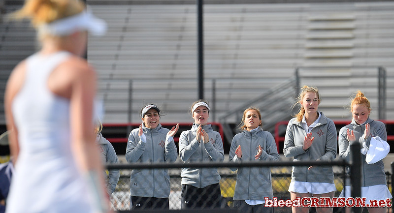 LAS VEGAS, NV - JANUARY 20:  Members of the New Mexico State Aggies women's tennis team watch the match between teammate Lindsay Harlas and Tereza Pilzova of the Weber State Wildcats at the Frank and Vicki Fertitta Tennis Complex in Las Vegas, Nevada. Harlas won the match 4-6, 7-5, 1-0 (10-5).   Photo by Sam Wasson/bleedCrimson.net