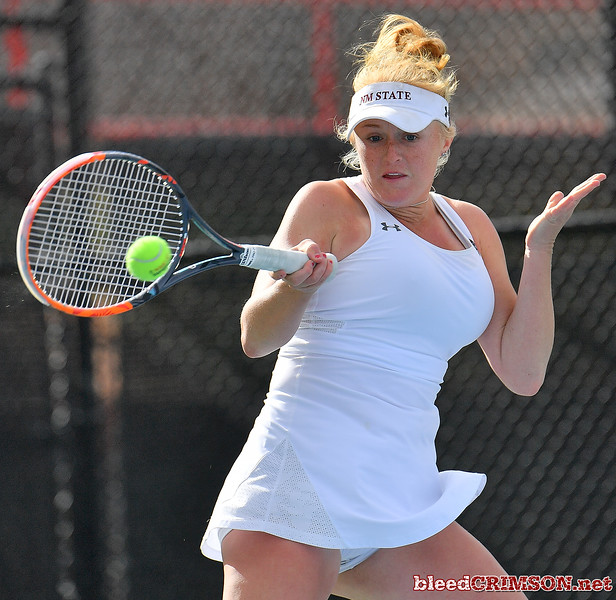 LAS VEGAS, NV - JANUARY 20:  Lindsay Harlas of the New Mexico State Aggies plays a forehand during her match against Tereza Pilzova of the Weber State Wildcats at the Frank and Vicki Fertitta Tennis Complex in Las Vegas, Nevada. Harlas won the match 4-6, 7-5, 1-0 (10-5).   Photo by Sam Wasson/bleedCrimson.net