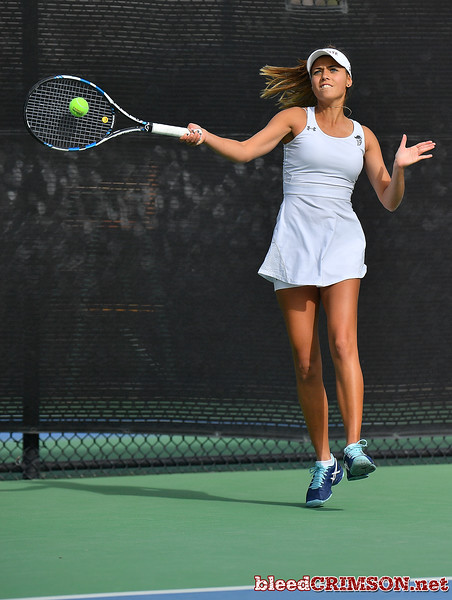 LAS VEGAS, NV - JANUARY 20:  Eli Arnaudova of the New Mexico State Aggies plays a forehand during her team's match against McKenna Lloyd of the Weber State Wildcats at the Frank and Vicki Fertitta Tennis Complex in Las Vegas, Nevada. Amaudova won the match 7-5, 6-2.  Photo by Sam Wasson/bleedCrimson.net