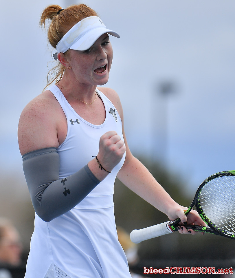 LAS VEGAS, NV - JANUARY 20:  Rebecca Keijzerwaard of the New Mexico State Aggies celebrates after winning a point during her match against Pei-Hsuan (Patty) Kuo of the Weber State Wildcats at the Frank and Vicki Fertitta Tennis Complex in Las Vegas, Nevada. Kuo won the match 6-3, 7-6 (10-5),  Photo by Sam Wasson/bleedCrimson.net