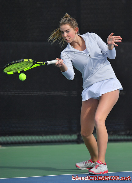 LAS VEGAS, NV - JANUARY 20:  Quinty Janssen of the New Mexico State Aggies plays a forehand during her match against Morgan Dickason of the Weber State Wildcats at the Frank and Vicki Fertitta Tennis Complex in Las Vegas, Nevada. Janssen won the match 4-6, 6-0, 6-3.  Photo by Sam Wasson/bleedCrimson.net