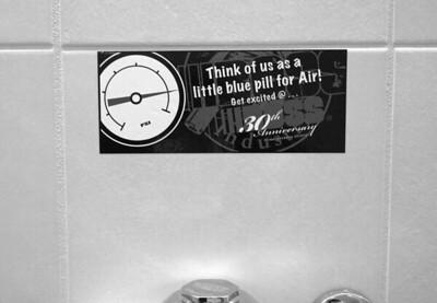 Onsite branding: Restroom stickers