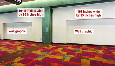 Onsite branding: Floor-supported wall graphic banners, Maryland Street Lobby
