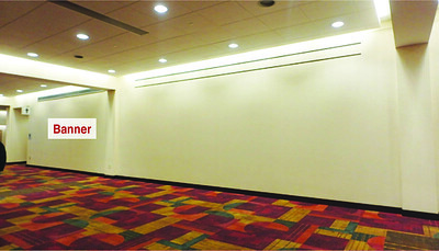 Onsite branding: Floor-supported wall graphic banners, Speedway Hallway
