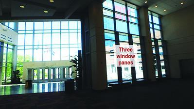 Onsite branding: Window cling area off JW Marriott Indianapolis escalators